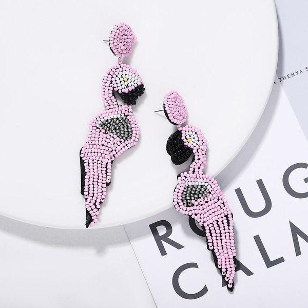 Fashion simple rice beads beaded woodpecker earrings NHJQ171231