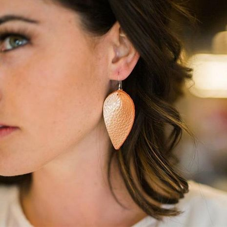 Leather leaf earrings are uniquely simple NHJQ171235's discount tags