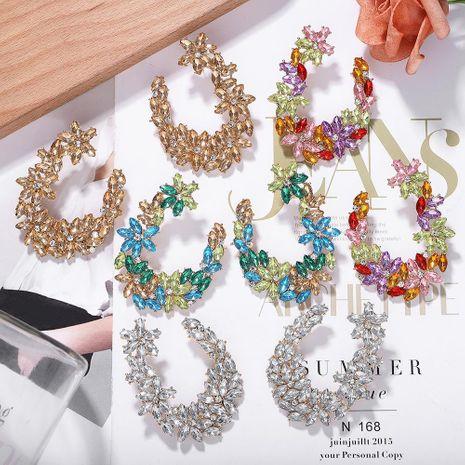 Alloy diamond earrings luxury fashion U shape NHJQ171244's discount tags