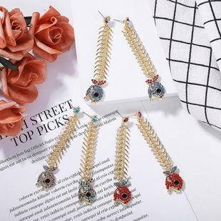 European and American fashion alloy chain long section stitching face small earrings NHJQ171223's discount tags