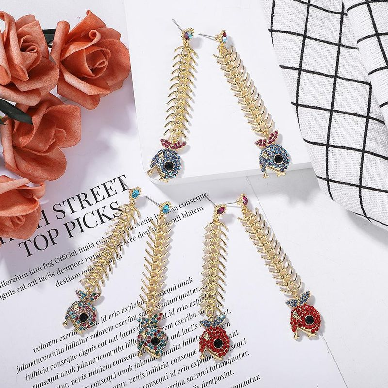 European and American fashion alloy chain long section stitching face small earrings NHJQ171223