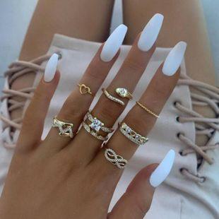 Conjunto de anillo de corazón de diamantes con forma de serpiente Love Vintage NHGY171251's discount tags