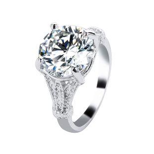 Elegante anillo minimalista de microconjunto de cobre con cuatro garras de circón NHDP171417's discount tags