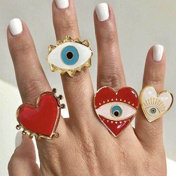 Fashion devil eye ring open punk NHOT171217