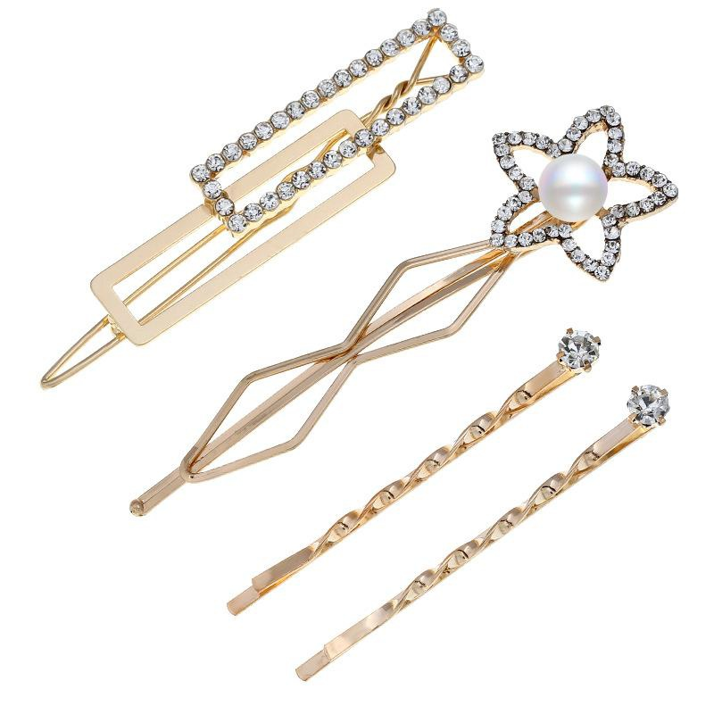 Fashion pop hair clips with gemstone flower pearls NHVA171469