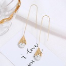 Fresh and simple long pendant pearl tassel earrings NHKQ171293