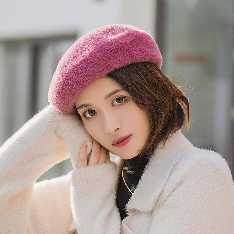 Imitation velvet Korean version of the British octagonal hat tide Japanese warm hat NHHY171755