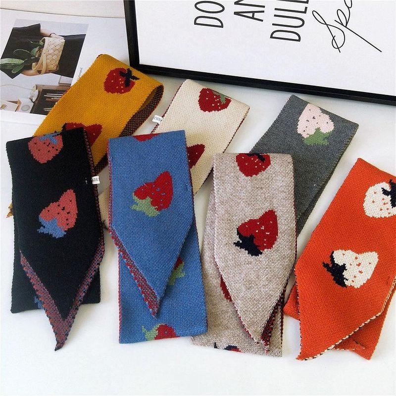 Sharp-edged strawberry scarf long couple knitted knit wool warm shawl NHMN171768