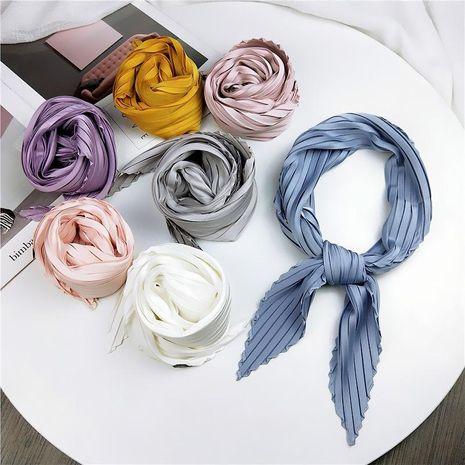 Solid color pleated diamond square scarf literary retro small scarf NHMN171775's discount tags