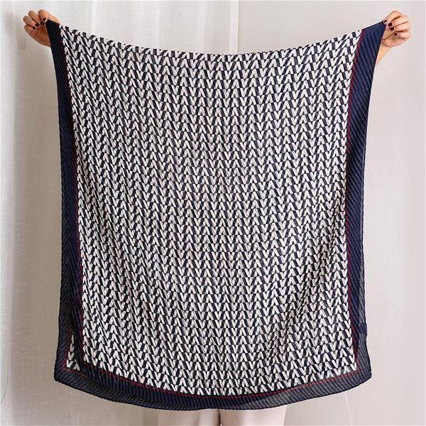 Silk scarf thin pleated stretch dual-use sunscreen cotton shawl warm scarf NHGD171698