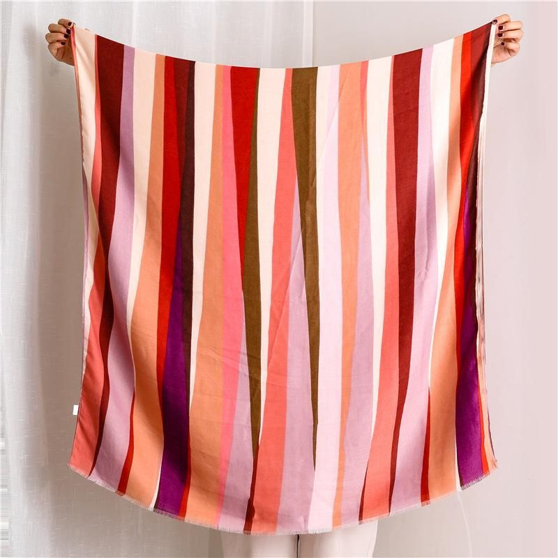 Scarf women vertical rainbow cotton and linen printed warm long shawl NHGD171744