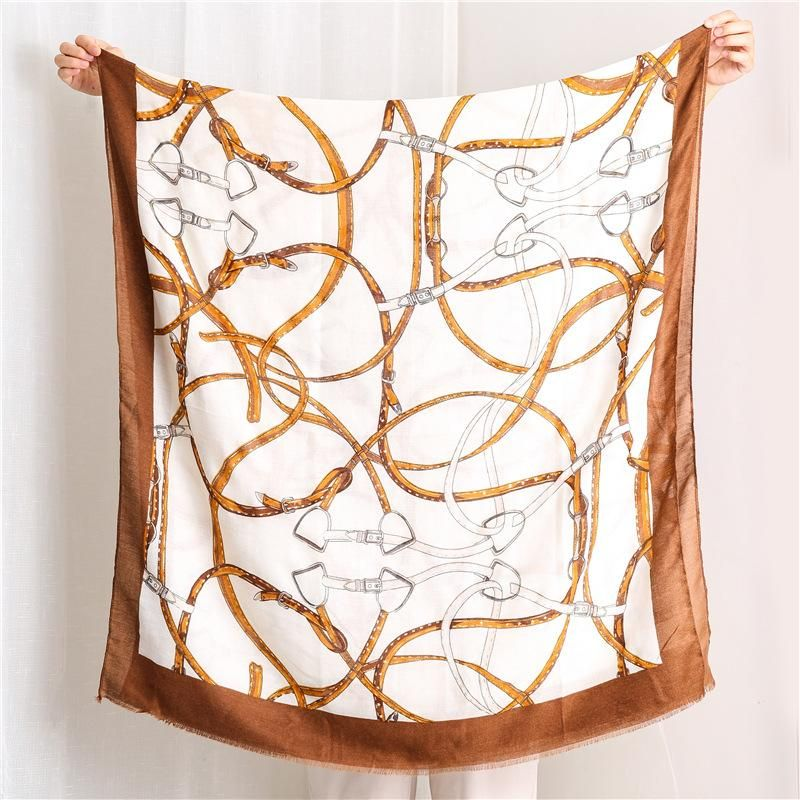 Women's scarf cotton and linen fashion hot silver belt chain shawl NHGD171747