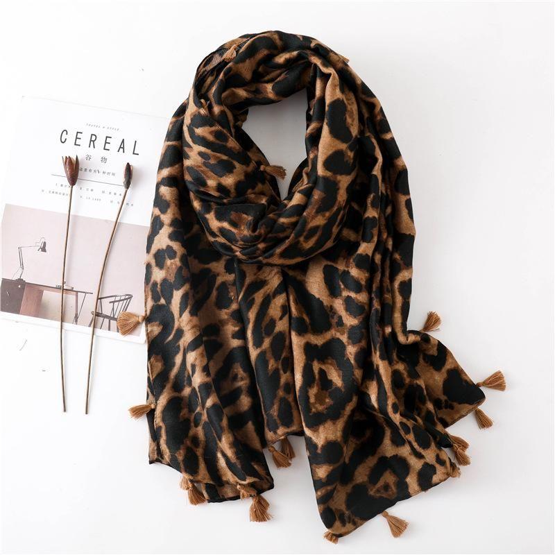 Leopard print sunscreen shawl cotton scarves NHGD171728