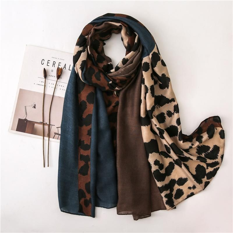 Women leopard scarf new color matching cotton and linen shawl NHGD171733