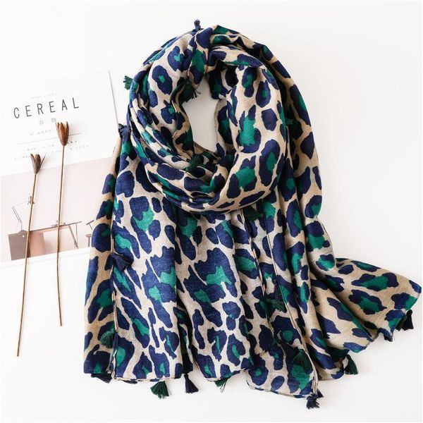 Cotton and linen scarf shawl dual-use classic blue leopard long scarf scarf women NHGD171738