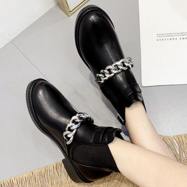Nuevos botines de cadena redonda de cabeza grande con botas Martin femeninas NHSO171689