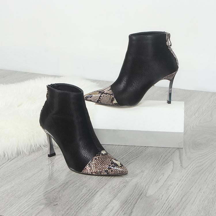 Sexy snake-print pointed booties with stiletto fashion high heel boots NHHU171577