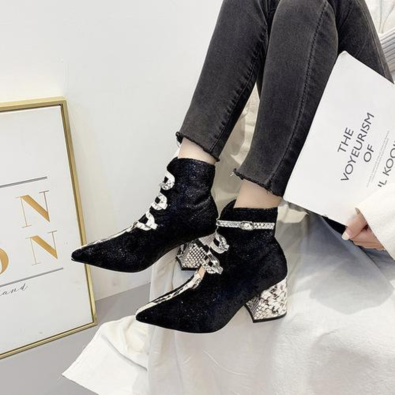 New women's shoes fashion snake pattern booties pointed thick high heel Martin boots NHCA171797