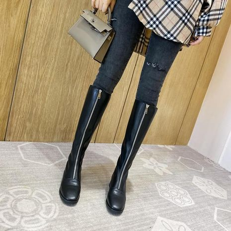 New high boots front zipper outdoor boots thick with female rider boots NHHU171621's discount tags