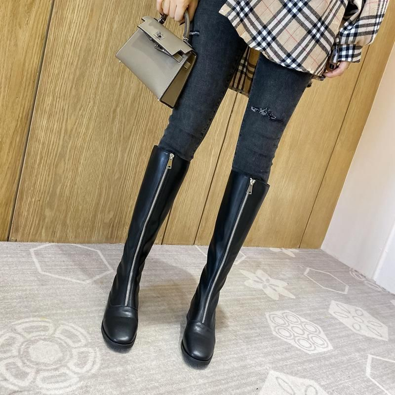 New high boots front zipper outdoor boots thick with female rider boots NHHU171621