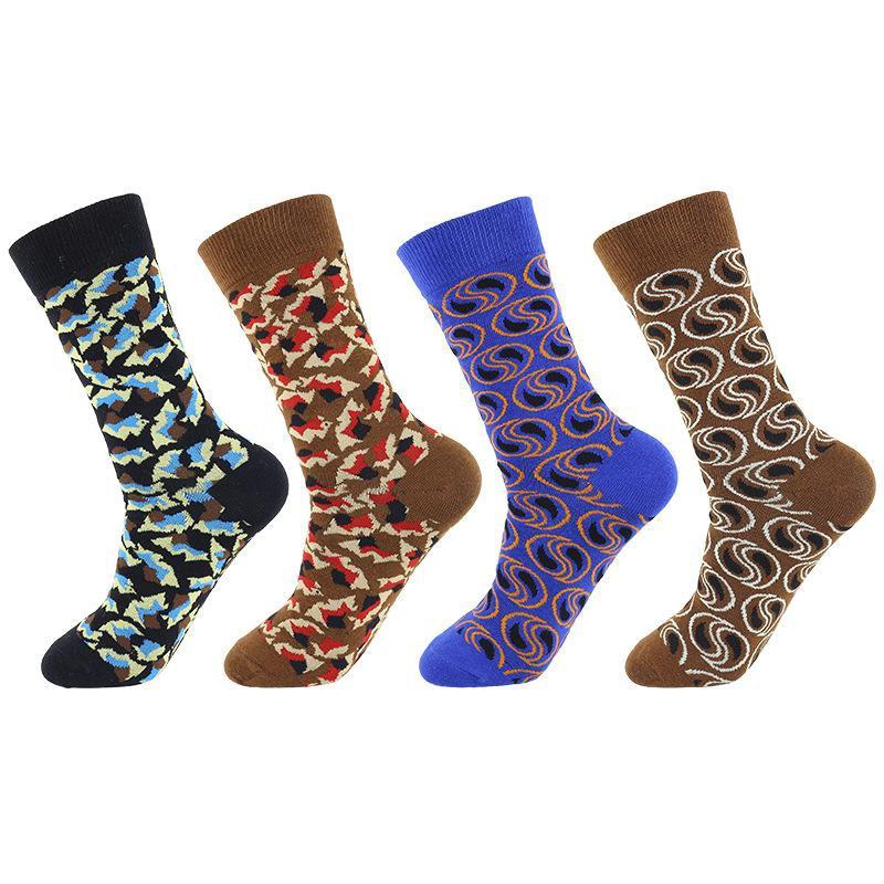 New socks men's abstract pattern skateboard socks Christmas cotton socks NHZG171597