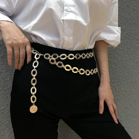 Vintage embossed portrait sexy multi-layer tassel waist chain NHXR171334's discount tags
