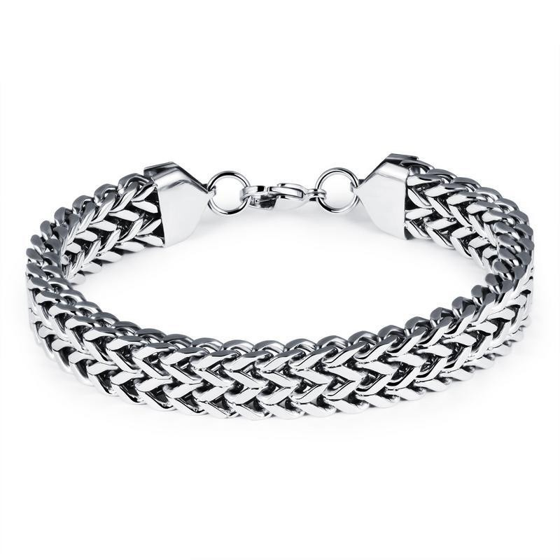 Titanium steel men's bracelet double v-type fighter chain NHOP172140