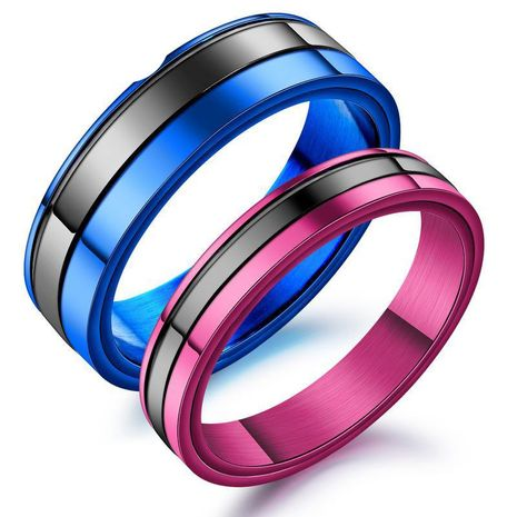 Black color titanium steel men and women ring fashion couple ring NHOP172136's discount tags