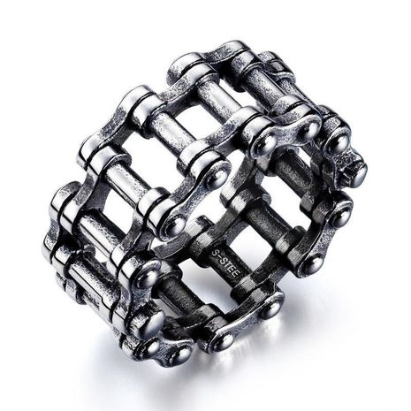 Fashion bicycle chain titanium steel ring stainless steel locomotive chain ring NHOP172151's discount tags