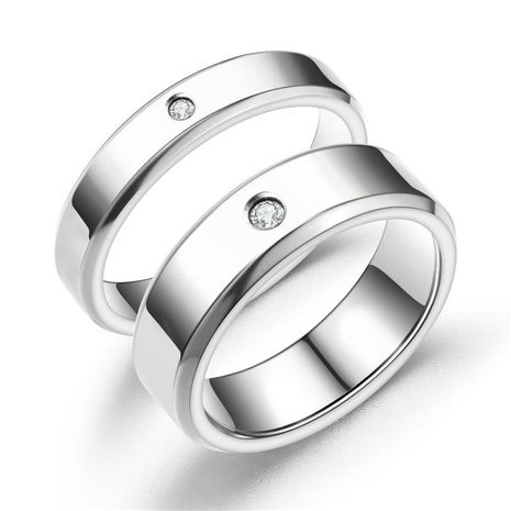 New titanium steel double beveled high-grade diamond ring couple ring NHTP172044's discount tags
