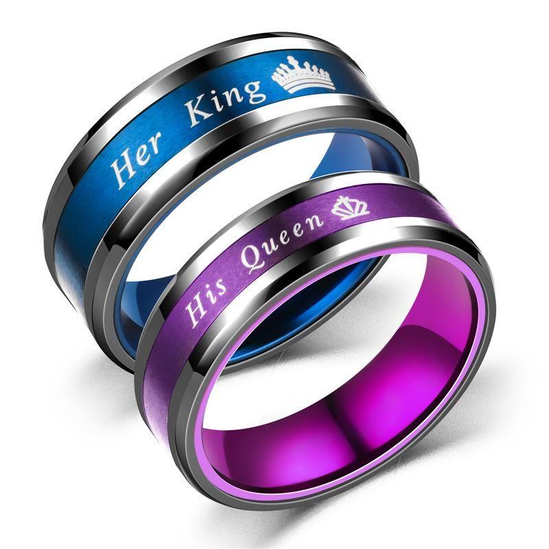 Fashion New Black Blue Black Purple Queen Ring King Queen NHTP172047