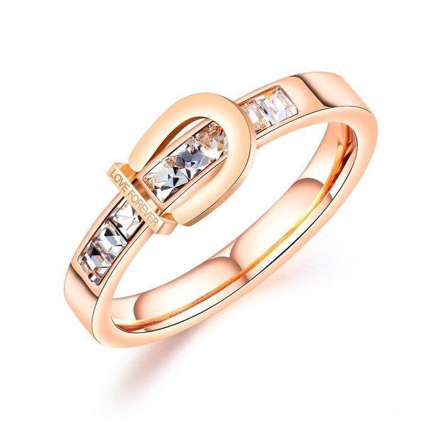 Nuevo anillo de oro rosa con incrustaciones de circón de acero de titanio anillo de moda para mujer LOVE FOREVER NHOP172138