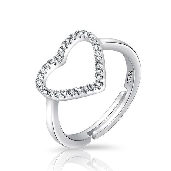 Stylish micro-inlaid zircon love full diamond ring adjustable NHQL172051