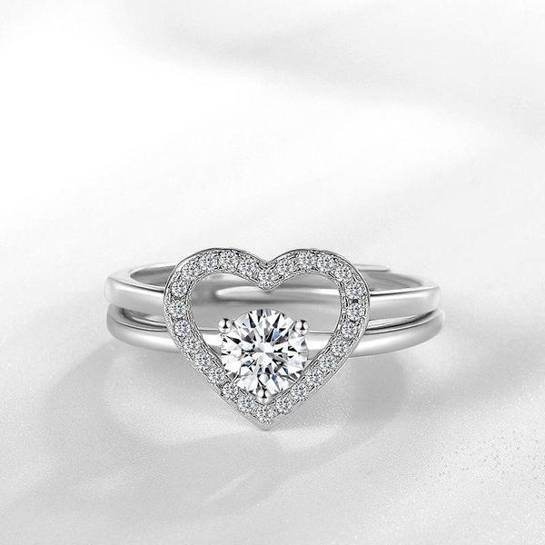 Cross-border heart-shaped opening ring female fashion silver jewelry ring NHQL172066