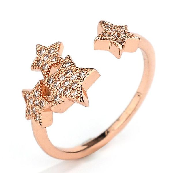 New five-pointed star-studded open ring with rose gold ring NHQL172073