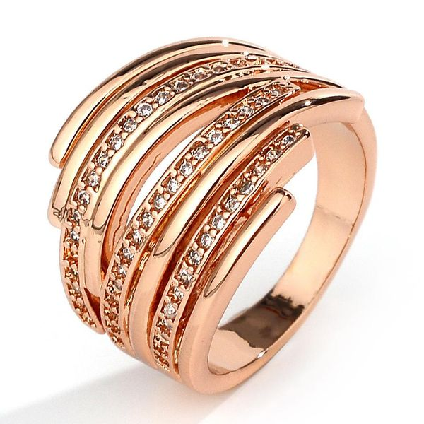 New Rose Gold Plated Ladies Ring Fashion Party Engagement Jewelry NHQL172087