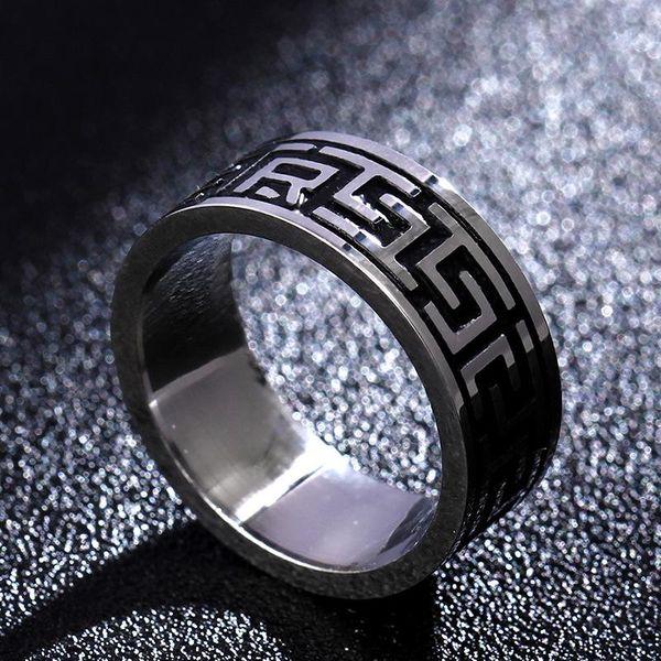 Simple titanium steel 8mm blackening ring NHIM172170