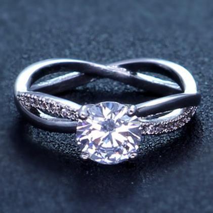 Titanium steel claw type zircon belt with diamond ring NHIM172169