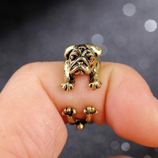 Shar Pei Retro Ring Pug Animal Adjustable Ring Ancient Silver Bronze Gun Black NHIM172185's discount tags