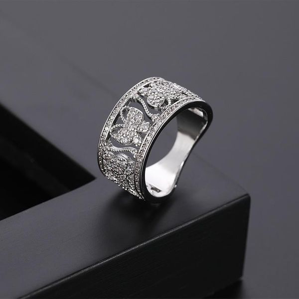 New couple ring butterfly simple micro-inlaid zircon ring NHQL172103