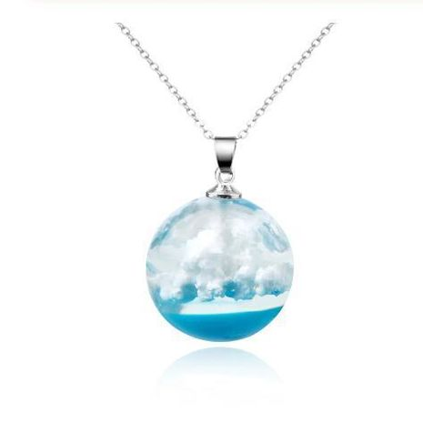Fashion personality transparent blue sky and white clouds pattern round pendant resin necklace NHGO171861's discount tags
