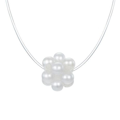 Imitation pearl flower invisible fish line necklace pendant necklace NHGO171863's discount tags