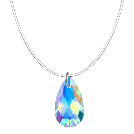 Stylish geometric teardrop colored invisible zircon necklace NHGO171869's discount tags