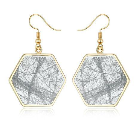 Boucles d'oreilles hexagonales en résine vintage en ligne irrégulière NHGO171855's discount tags