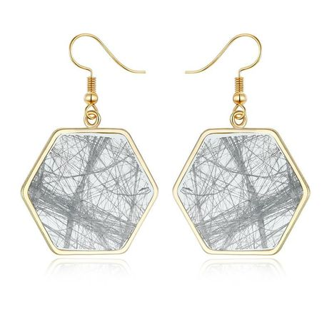 New irregular line messy hexagonal earrings vintage resin earrings NHGO171855's discount tags