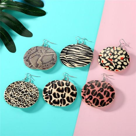 New exaggerated leopard round earrings vintage wood earrings NHGO171875's discount tags