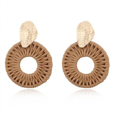 Boucles d'oreilles rondes en cuir tressé à la main NHGO172027's discount tags