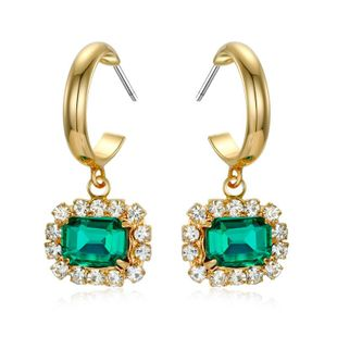 Gold round earrings blue green crystal diamond earrings NHGO172038's discount tags