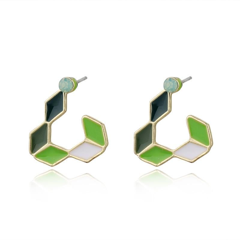 Simple and compact hollow triangle colored earrings NHGO172030