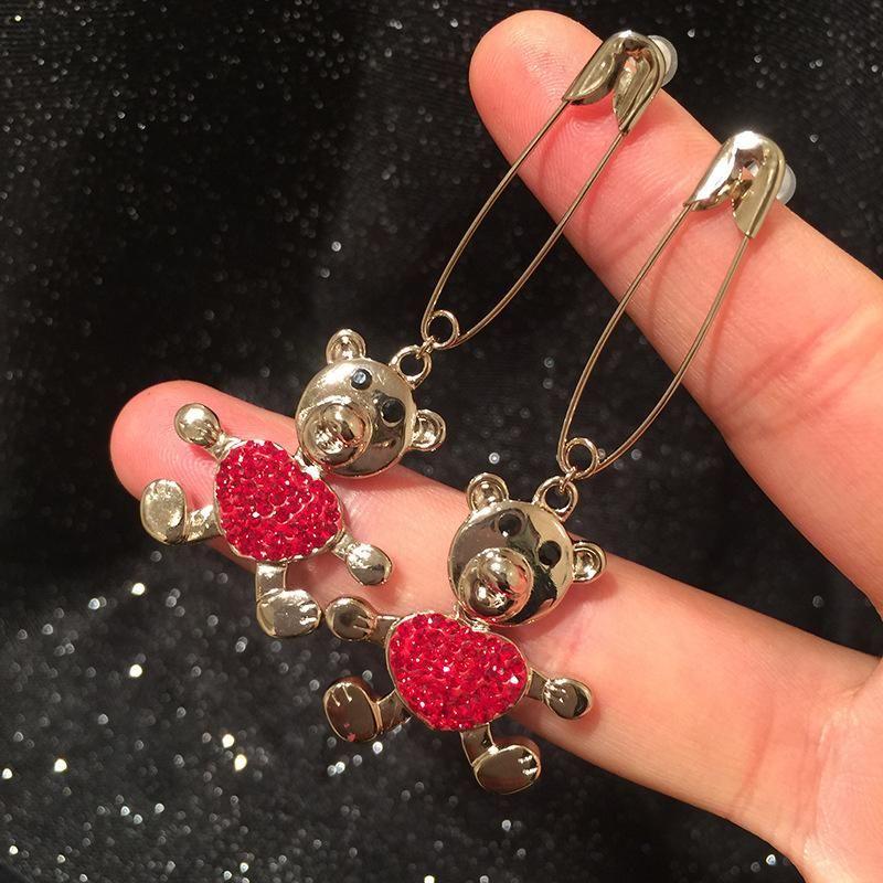 S925 Silver Sweet Red Love Bear Earrings Pin NHWK171996